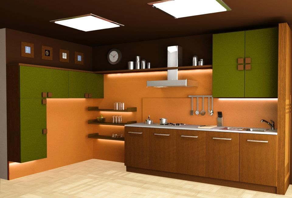 Modular kitchen 3d images in delhi india for Indian house kitchen design