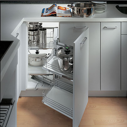 Modular kitchen corner storage units in delhi india - Magic corner cabinet ...